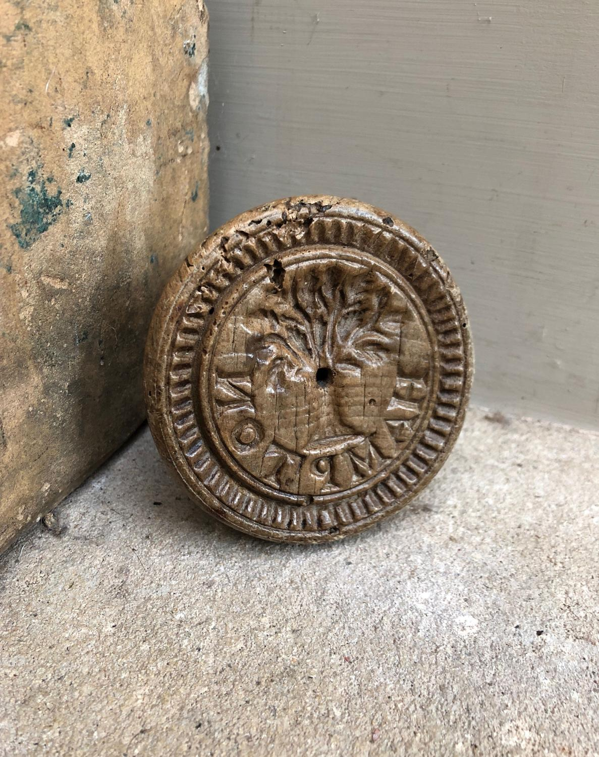 Rare Victorian Butter Stamp - Spells Hampton & Tree