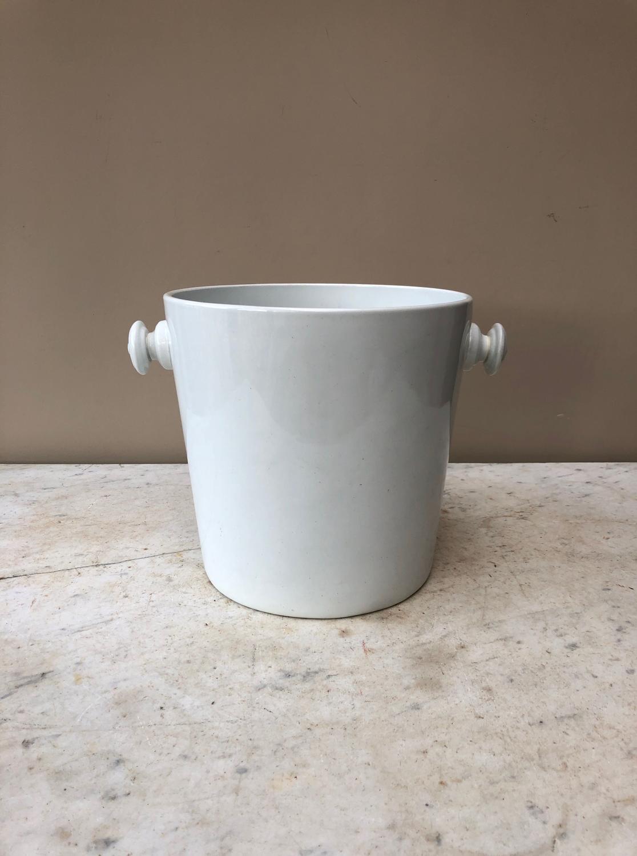 Edwardian White Ironstone Slop Bucket - Great Ice Bucket