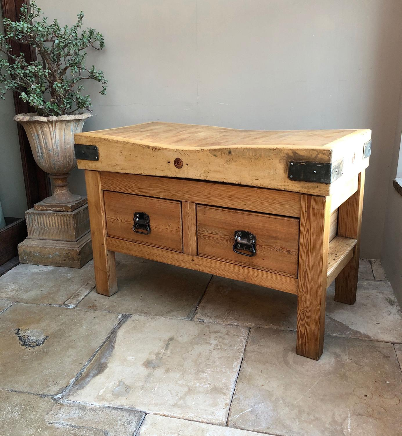 Antique 4 Foot Butchers Block on Pine Double Drawer Base