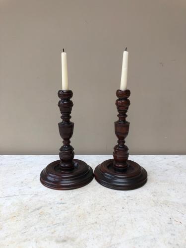 18th Century Pair of Treen Candlesticks c.1760 - Superb Quality