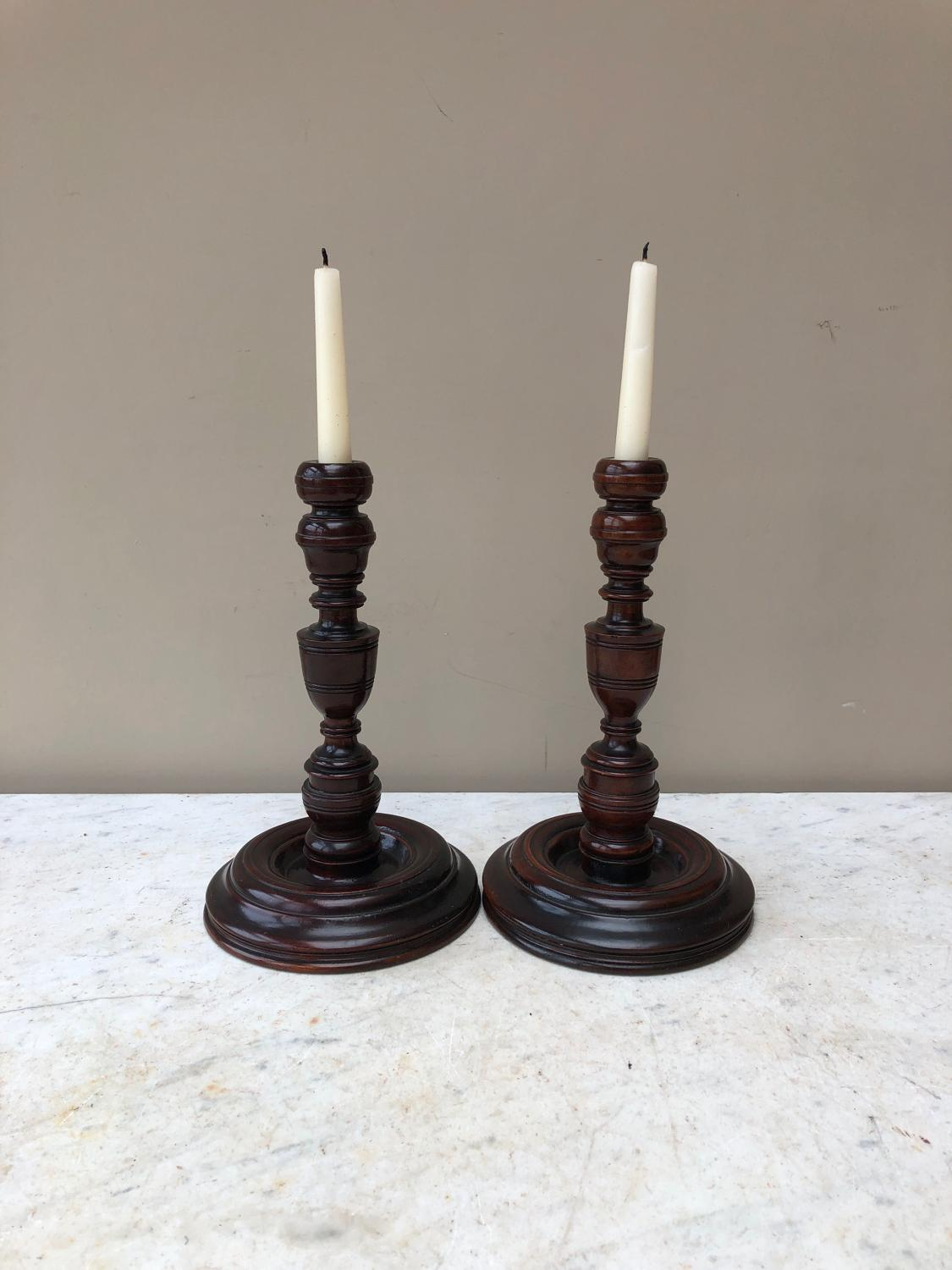 18th Century Pair of Treen Candlesticks c.1760 - Superb Quality
