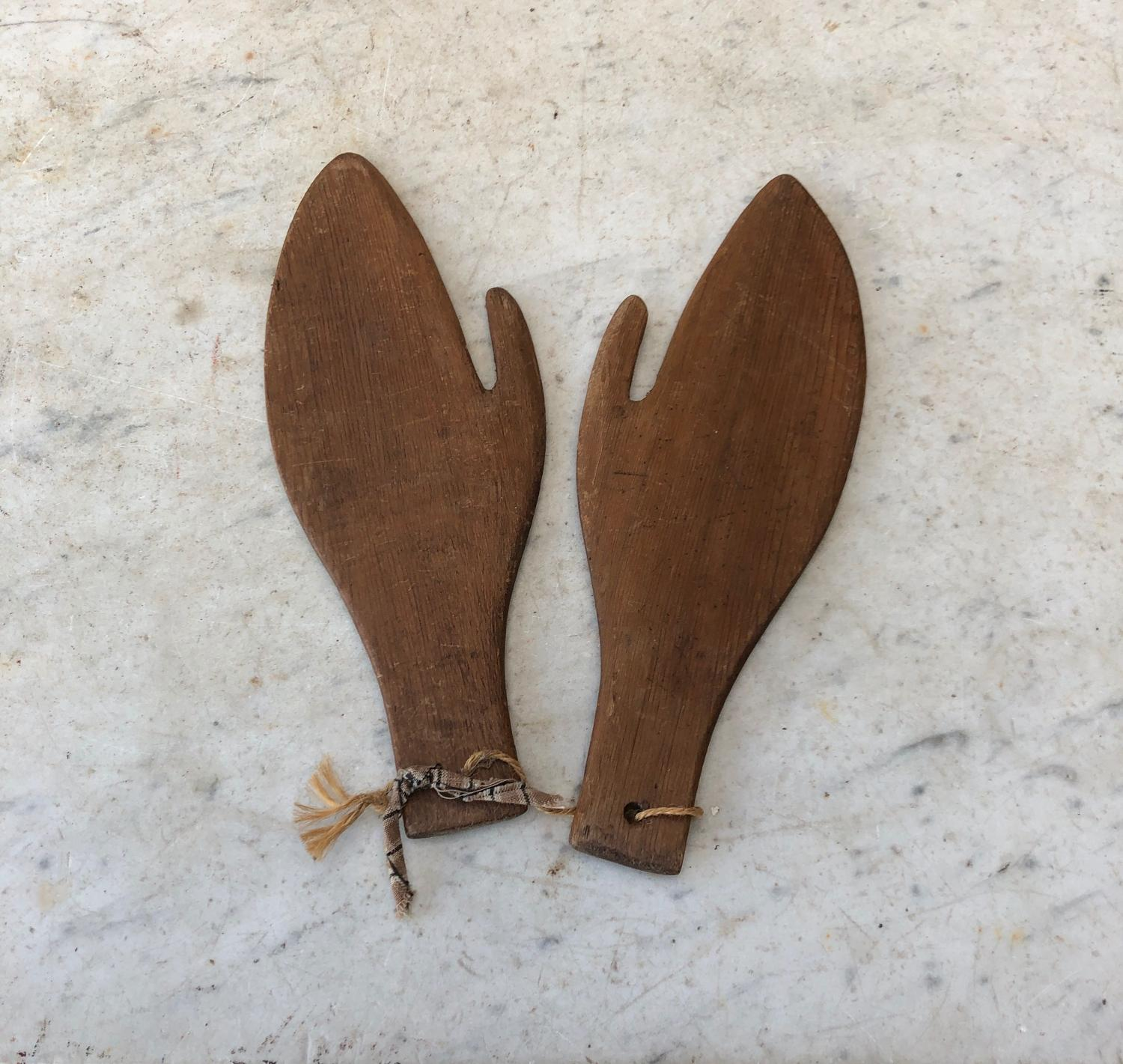 Rare Edwardian Pine Mitten Driers, Shapers or Stretchers