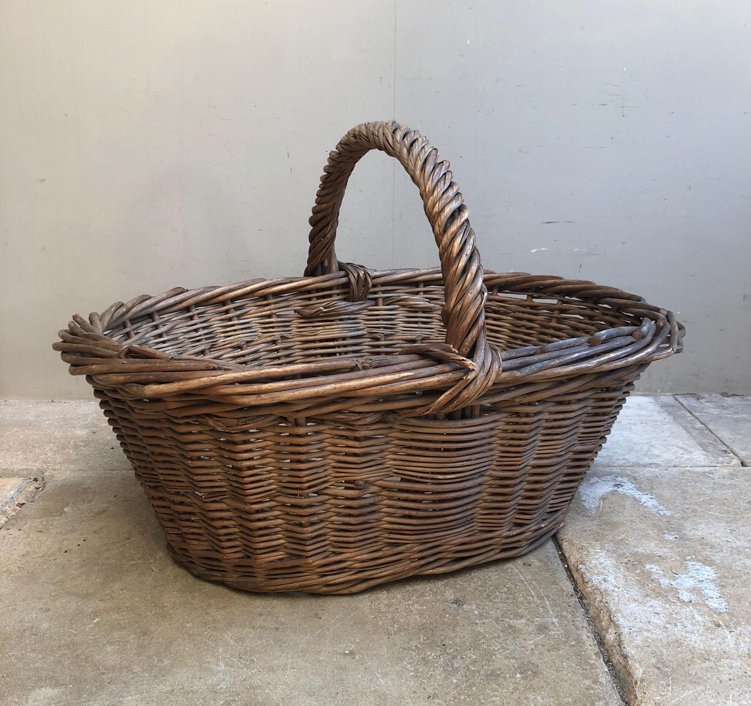 Large Antique Bakers Basket - Great Solid Condition