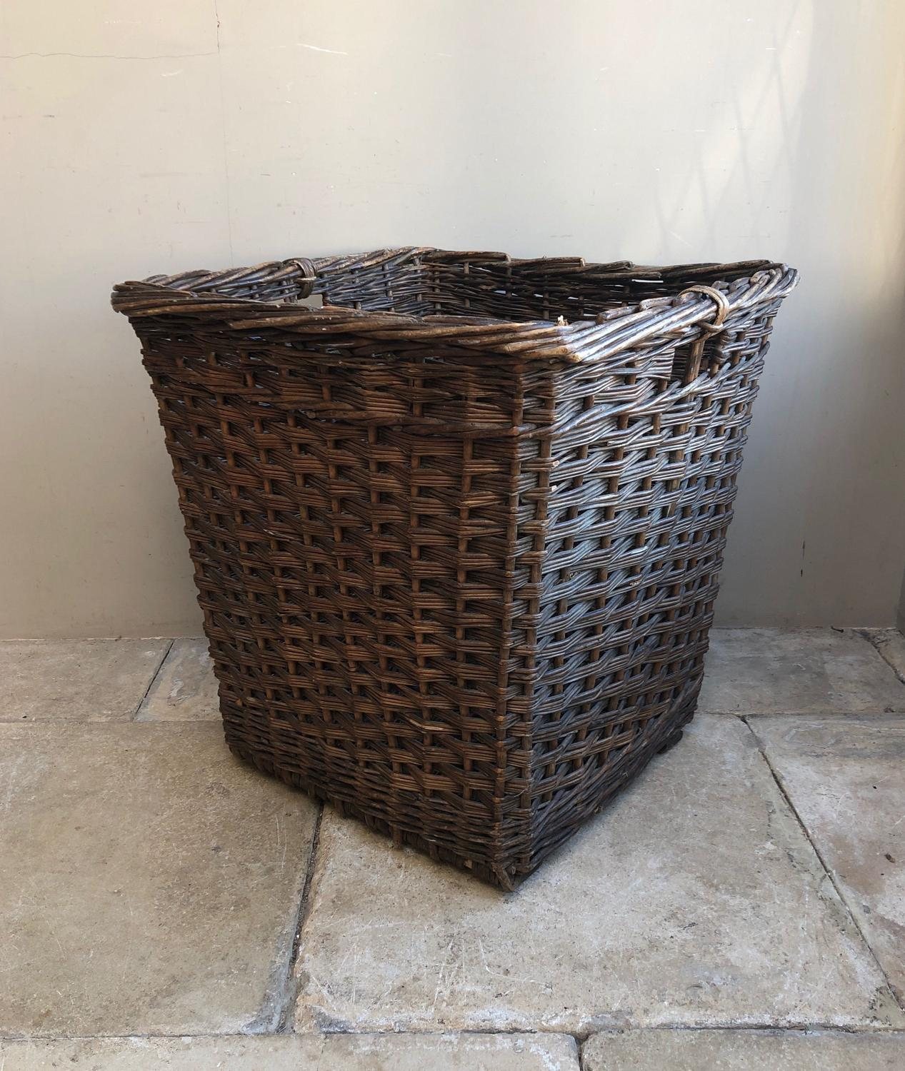 Large Early 20th Century Mill Basket - Perfect Log Basket