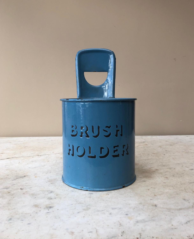 Rare Blue Enamel Early 20th Century Brush Holder