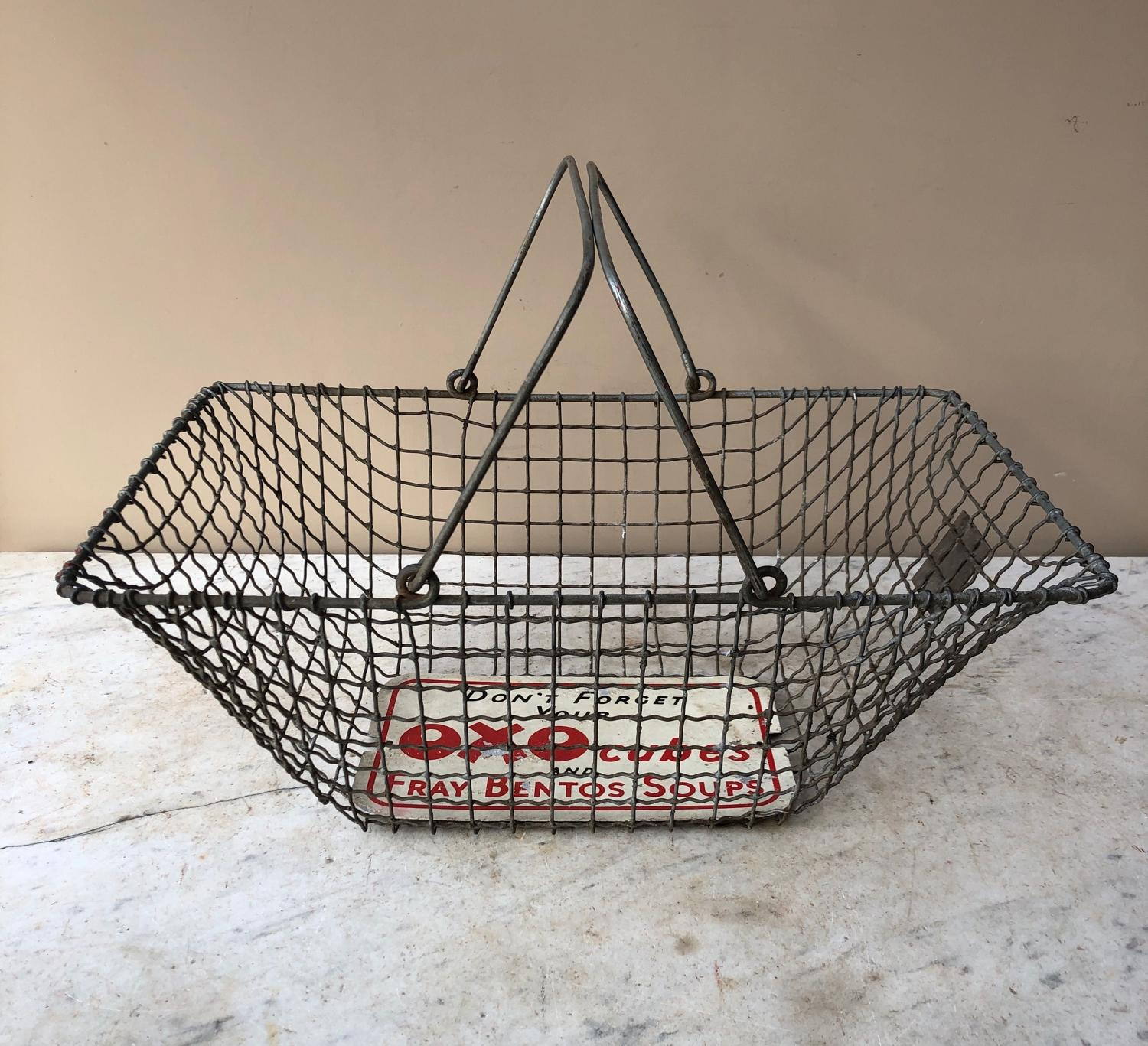 Rare Early 20thC Wire Work Shops Advertising Basket - Oxo