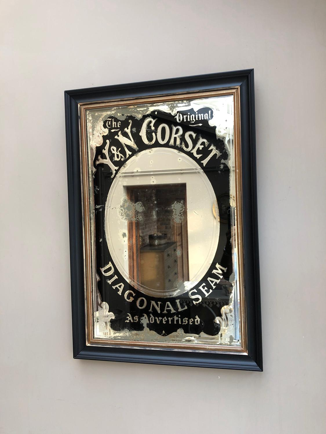 Edwardian Y & N Corset Advertising Mirror - Later Frame