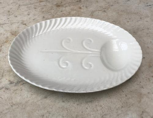 Early 20th Century White Staffordshire Meat Plate