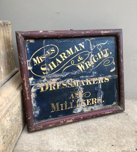 Mid Victorian Painted Pine Dressmaker & Milliners Sign