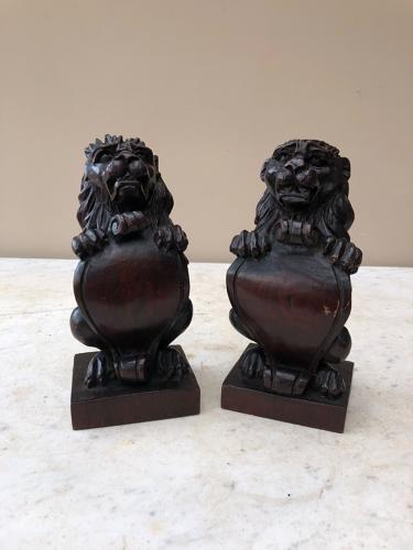 Victorian Pair of Carved Lions - Newel Posts