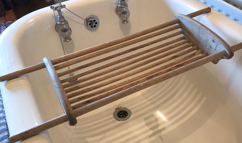 Mid Century Bleached Beech Bath Rack