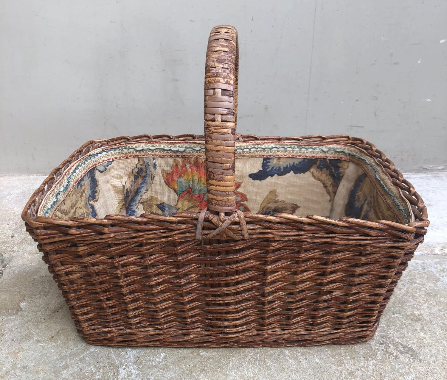 Antique Fabric Lined Edwardian Lady's Basket with Cover