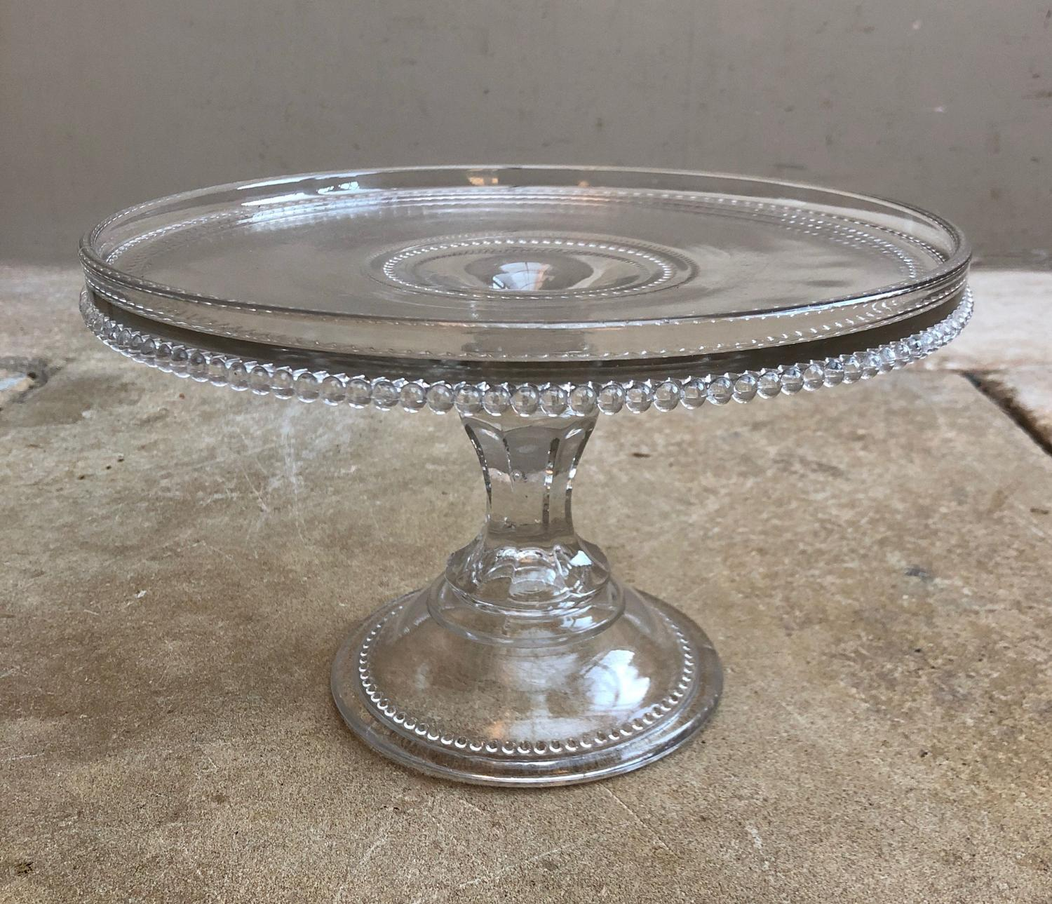 1930s Wonderfully Pretty Glass Cake Display Stand