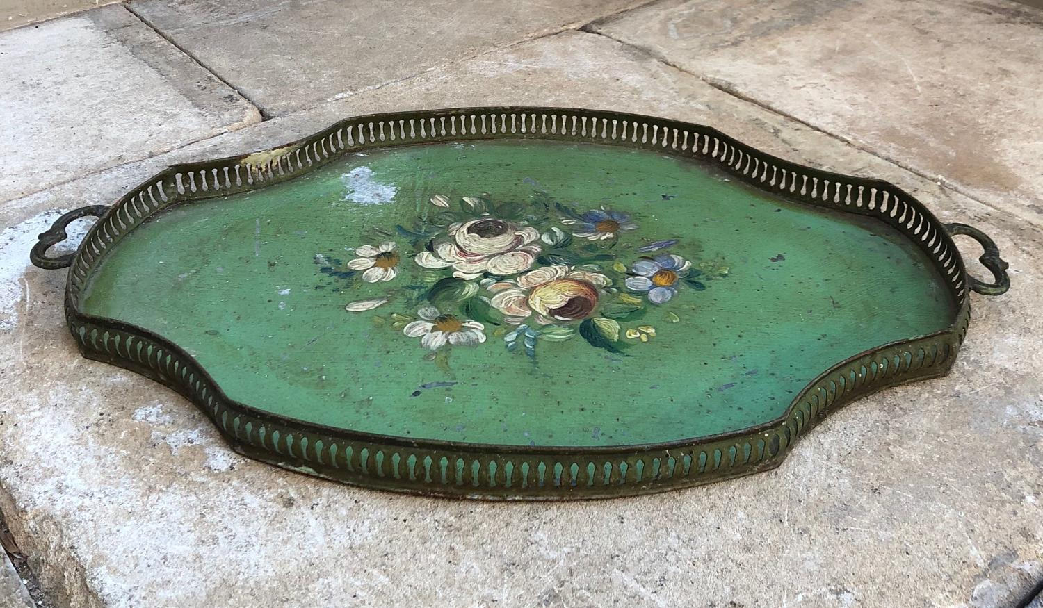 Victorian Toleware Tray with Filigree Edging & Ornate Iron Handles