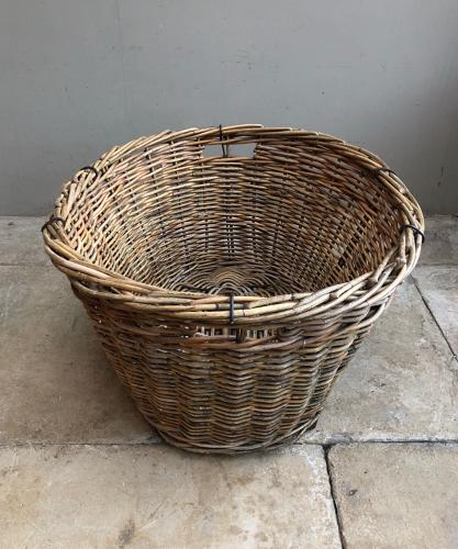 Huge Antique Laundry (Or Log) Basket with Wooden Slat Base