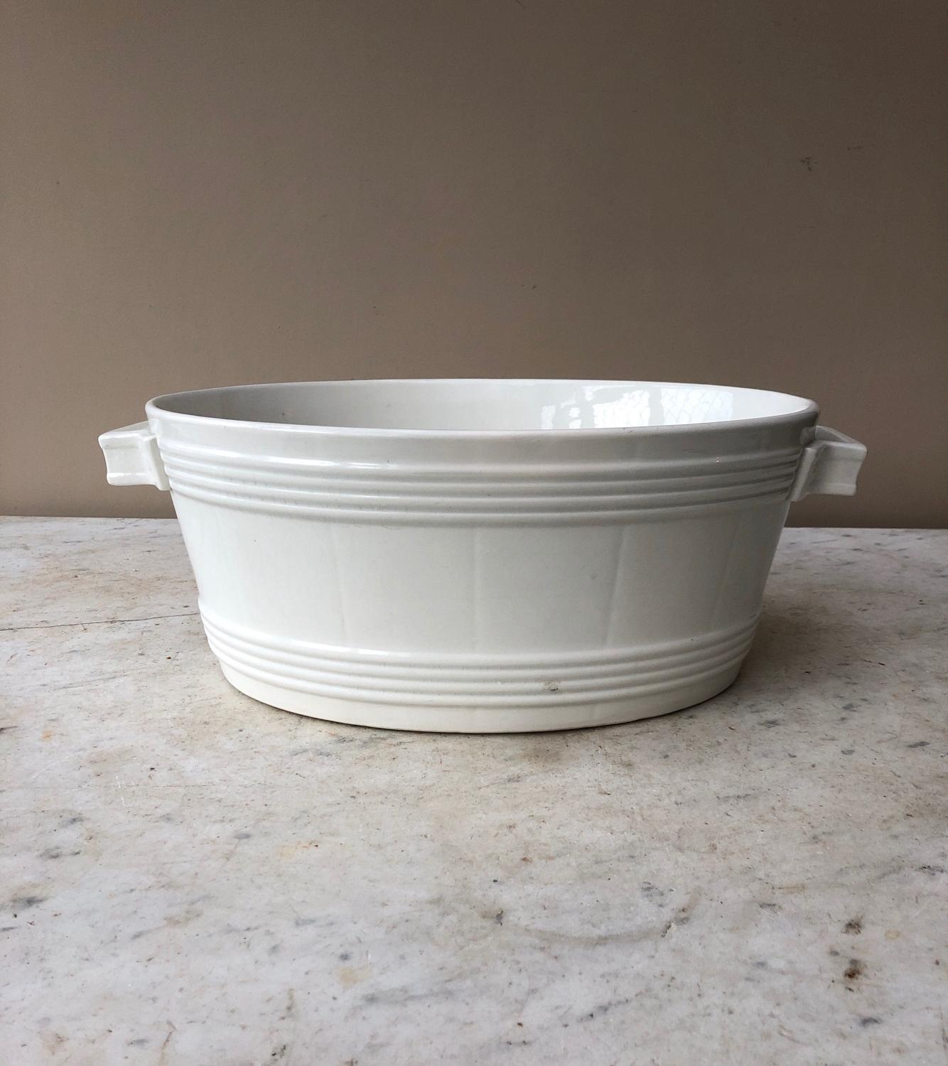 Edwardian White Banded Dairy Butter Bowl - Great Fruit Bowl
