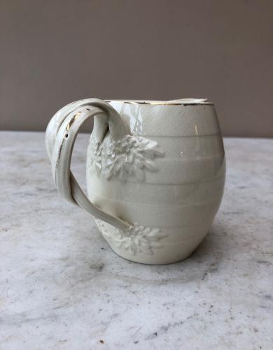 19thC Creamware Banded Dairy Milk or Cream Jug - Wonderful Handle