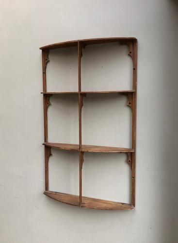 Antique Pine Four Tier Narrow Wall Shelves - Unusual