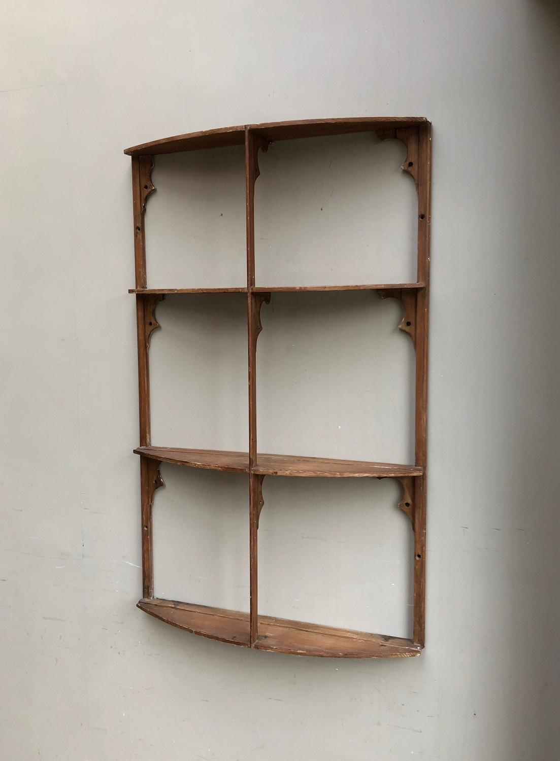 Antique Pine Four Tier Narrow Wall Shelves - Unusual