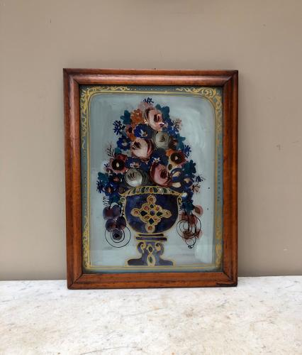 Victorian Reverse Glass Painted & Foiled Urn & Flowers