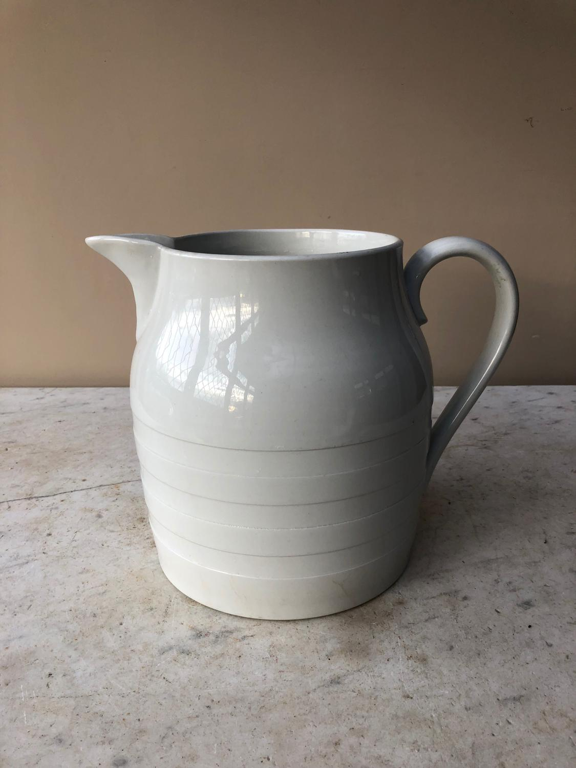 Late Victorian White Banded Dairy Milk Jug - 10 Pints