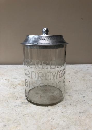 Edwardian Shops Glass Advertising Jar - Meredith & Drew Biscuits