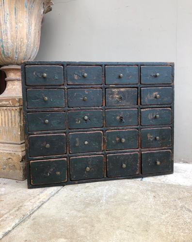 Mid Victorian Pine Bank of Drawers c1850 - Original Paint
