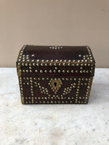 Early Victorian Leather Dome Top Box with Brass Studs