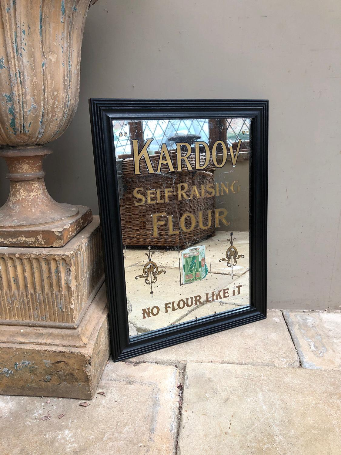 Rare Edwardian Shops Advertising Mirror - Kardov Flour