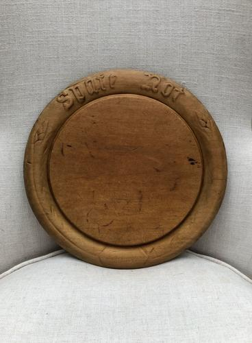 Victorian Carved Treen Bread Board - Spare Not