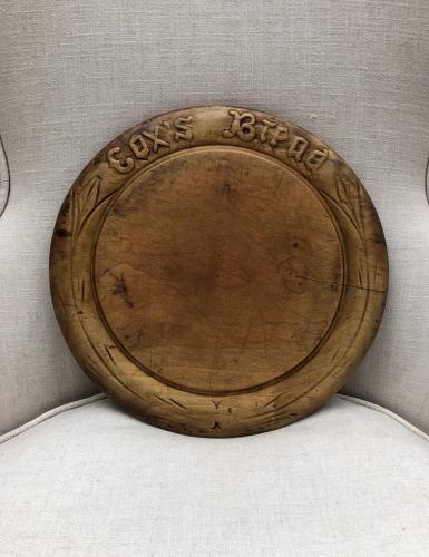 Victorian Carved Treen Advertising Bread Board - Cox's Bread