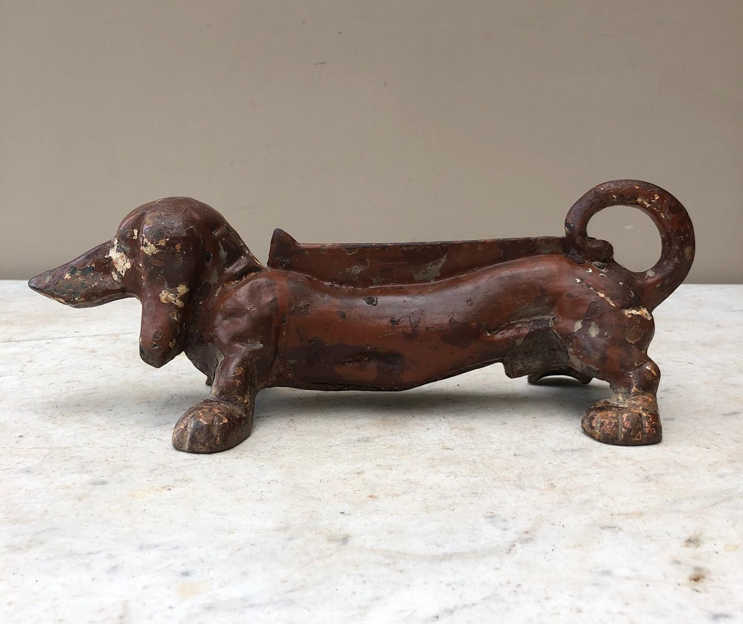 Edwardian Cast Iron Boot Shoe Scraper - Dachshund