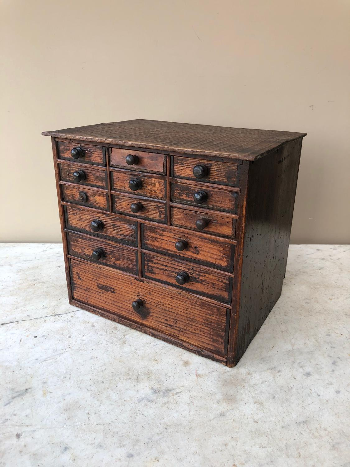 Victorian Pine Watchmakers Bank of Fourteen Drawers