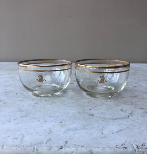 Pair Edwardian Glass Finger Bowls with Family Crest- Perfect for Mints