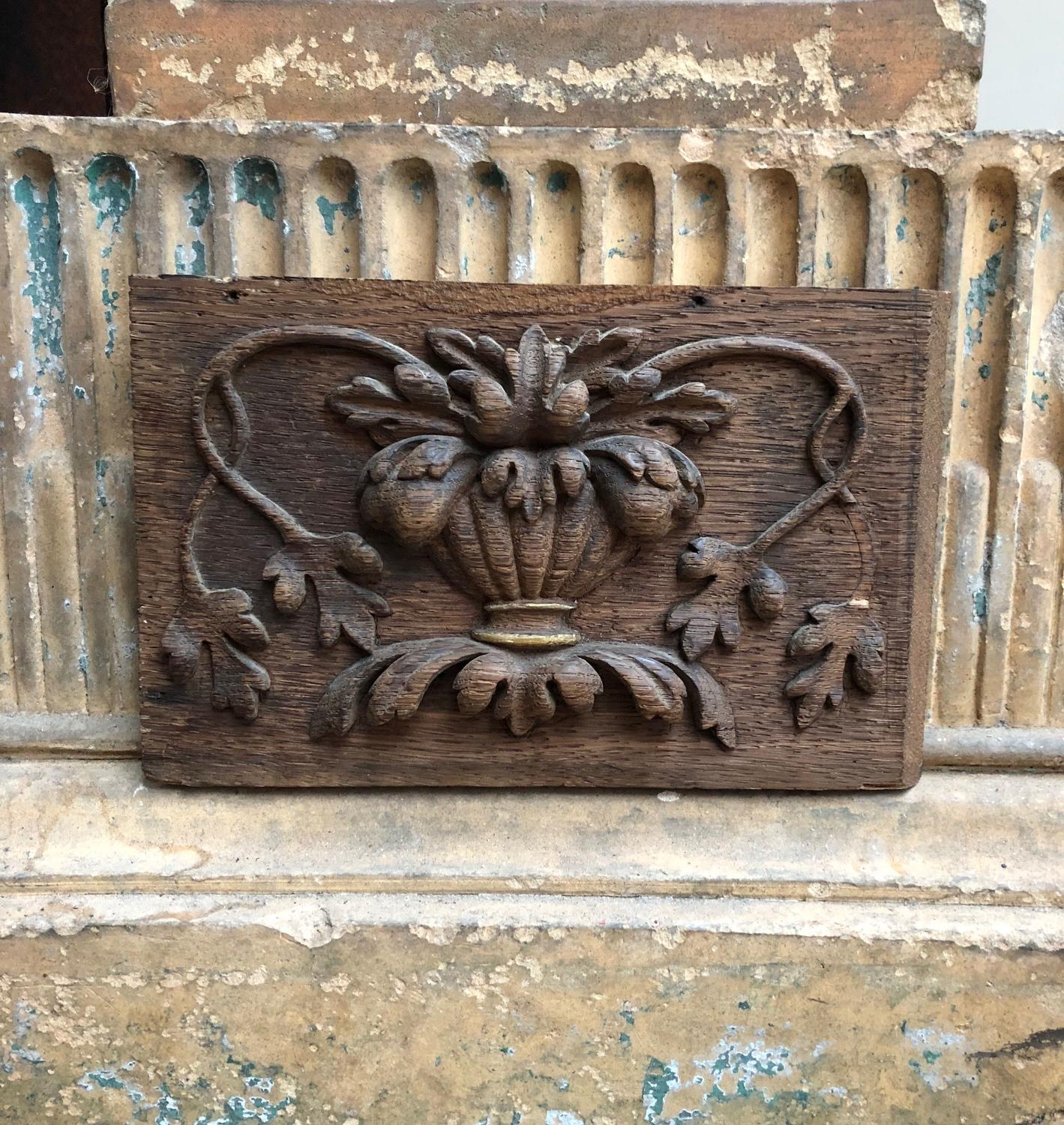 18th Century Small Carved Oak Panel - Urn with Foliage