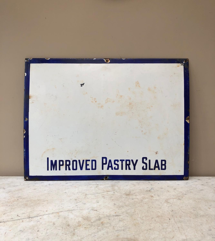 Rare 1920s Blue on White Enamel Improved Pastry Slab