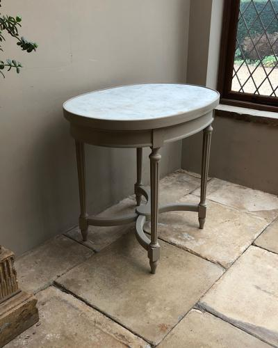 Late Victorian Console - Side Table - Inlaid Thick White Marble Top