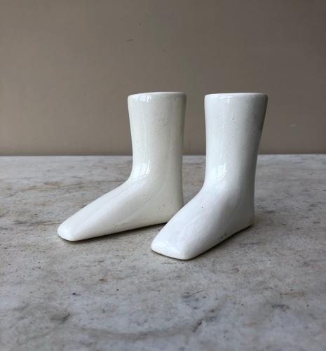 Rare Matched Pair of Victorian White Ironstone Childs Boot Warmers