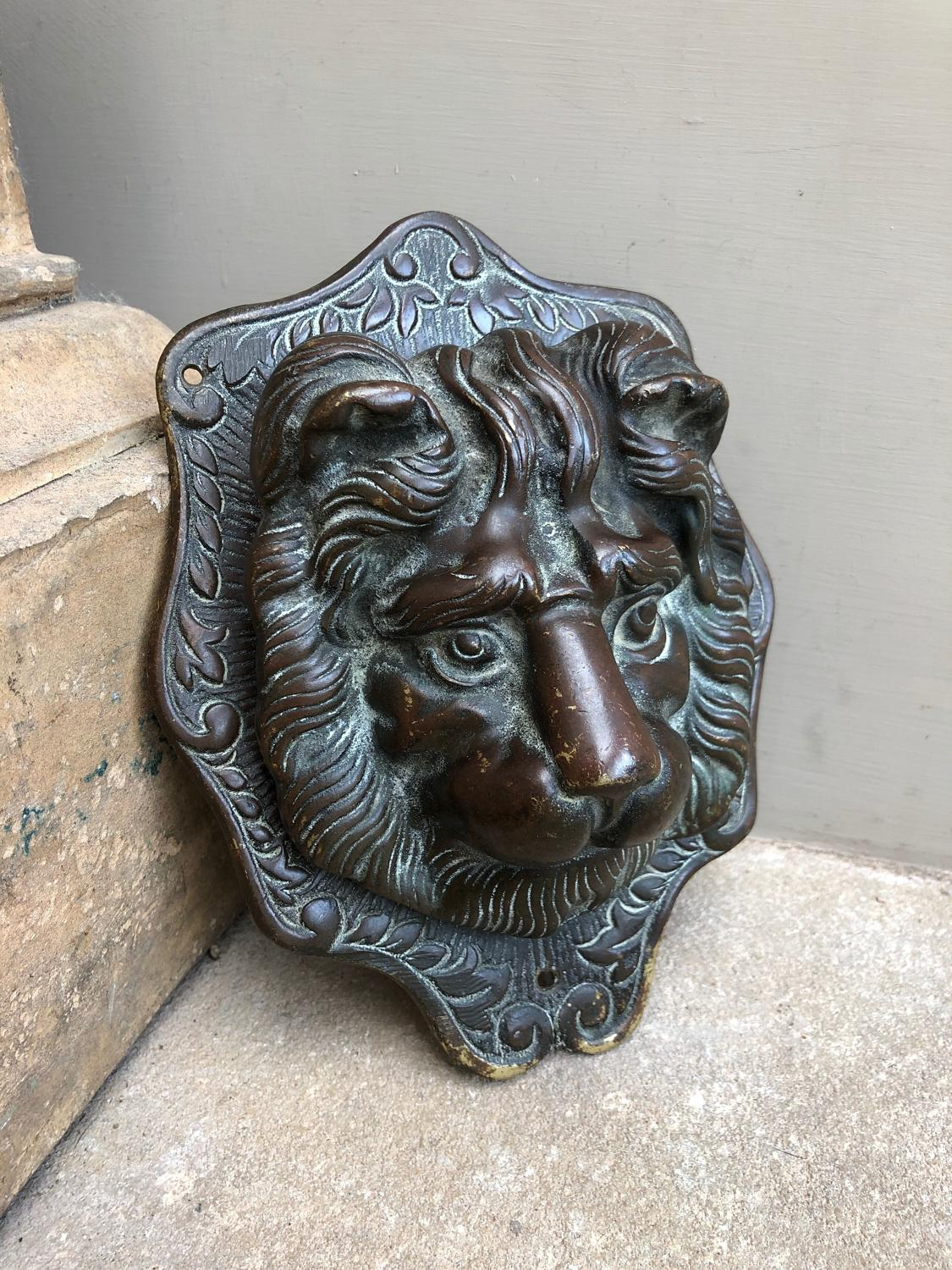 Wonderful Victorian Brass Lion Door Knocker - Fantastic Patina