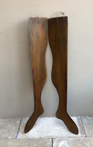 Pair of Edwardian Lady's Full Length Stocking Driers or Stretchers