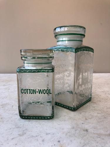 Two Victorian Etched & Enamelled Bathroom Jars