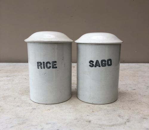 Two Edwardian White Ironstone Kitchen Storage Jars - Rice & Sago