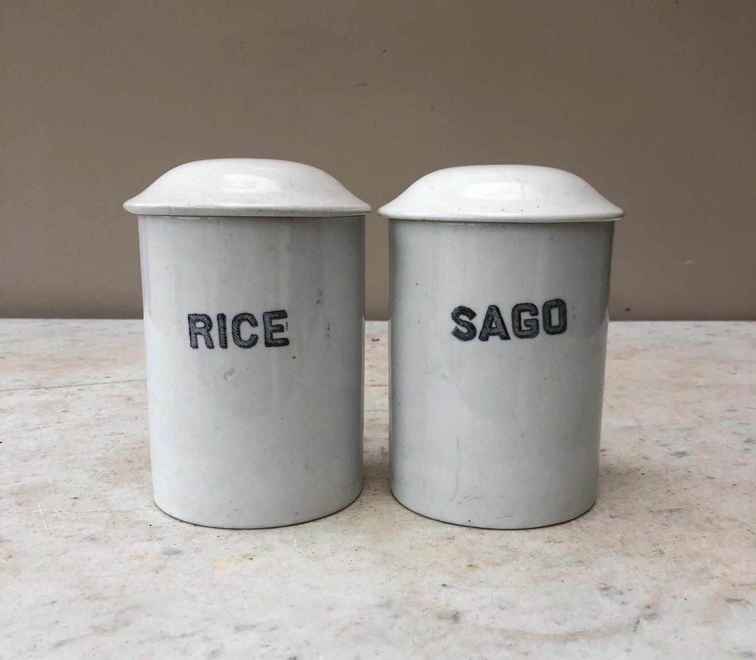 Two Edwardian White Ironstone Kitchen Storage Jars - Rice & Sago