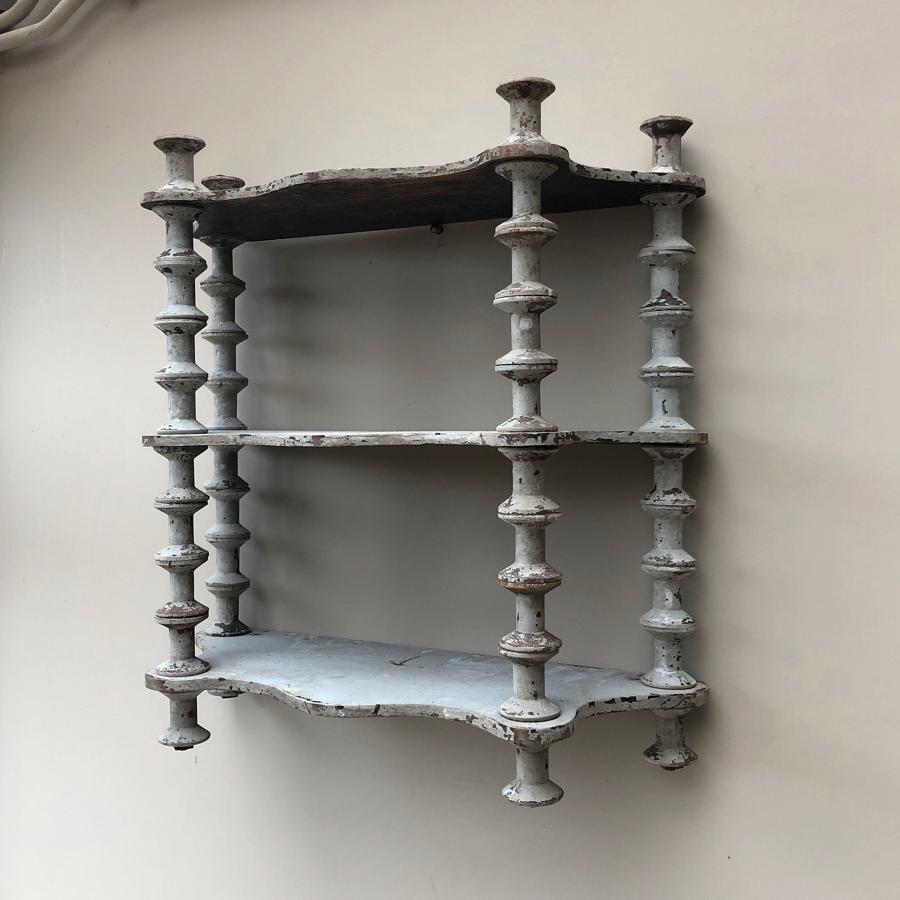 Late Victorian Pine Cotton Reel Shelves in Original Paint