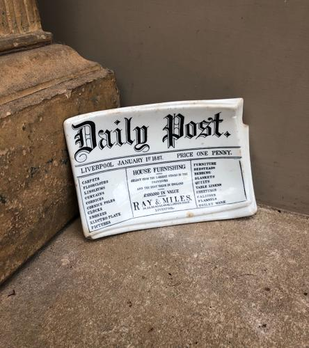 Rare Victorian White Ironstone Advertising Tray -Daily Post Liverpool