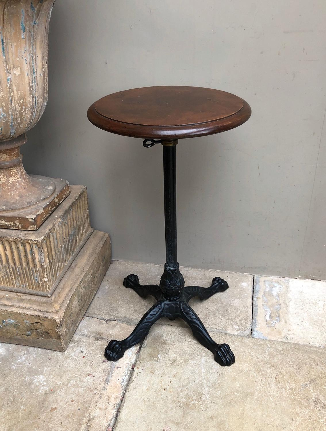 Early 20thC Table with Cast Iron Base & Adjustable Height
