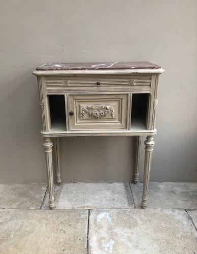 Victorian Marble Top Side Table with Central Cupboard