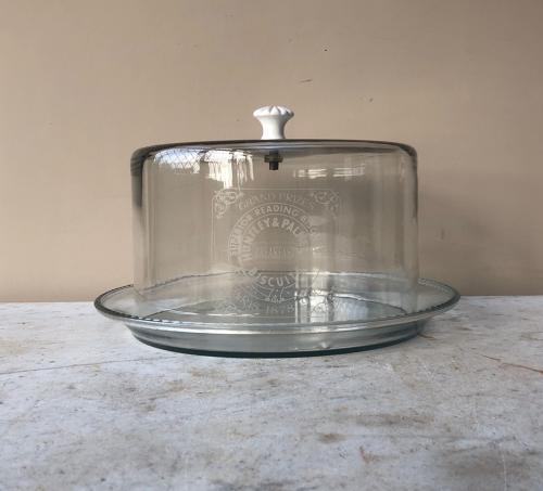 Large Glass Advertising Cake Dome - Huntley & Palmers