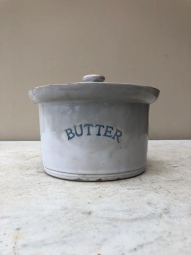 Large Early 20th Century Butter Crock with Lid - Pale Blue Glaze