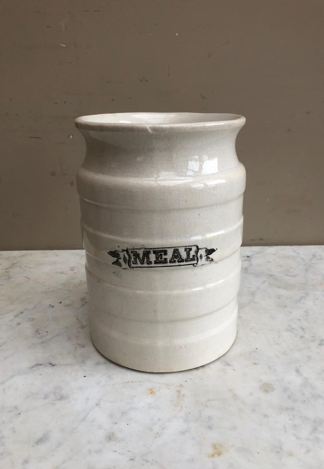Late Victorian White Banded Kitchen Storage Jar - Meal